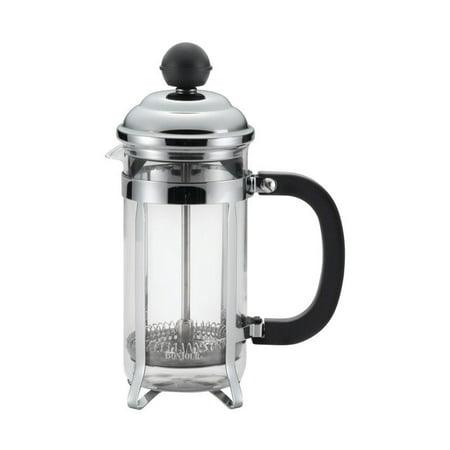 BonJour(r) Coffee Stainless Steel French Press with Glass Carafe, 12.7-Ounce, Bijoux, Black Handle