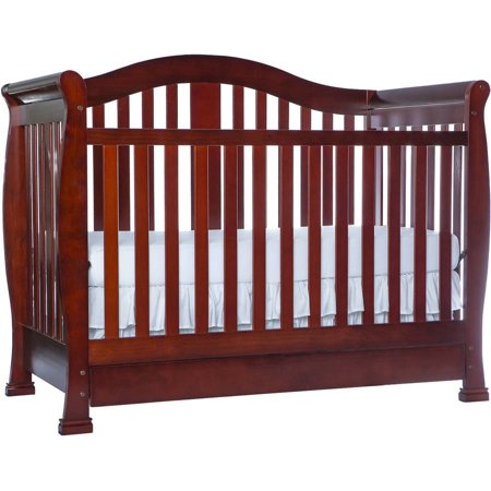 Dream On Me Addison 5-in-1 Convertible Crib With Storage Drawer Cherry
