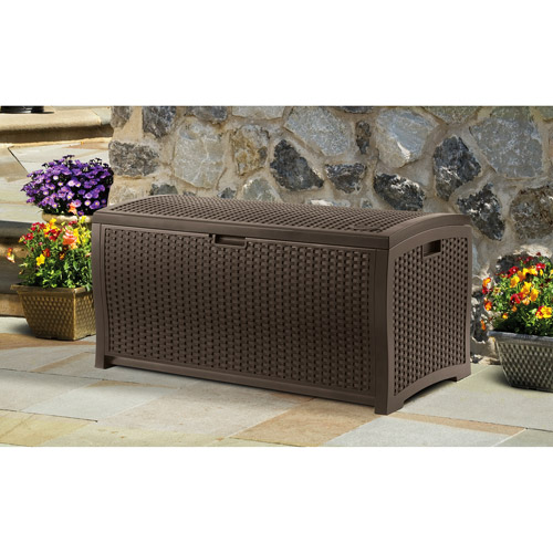 Suncast 99 Gallon Java Resin Wicker Deck Box DBW9200 by Suncast