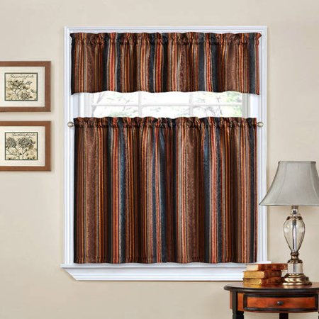 Traditions By Waverly Stripe Ensemble Kitchen Curtain And
