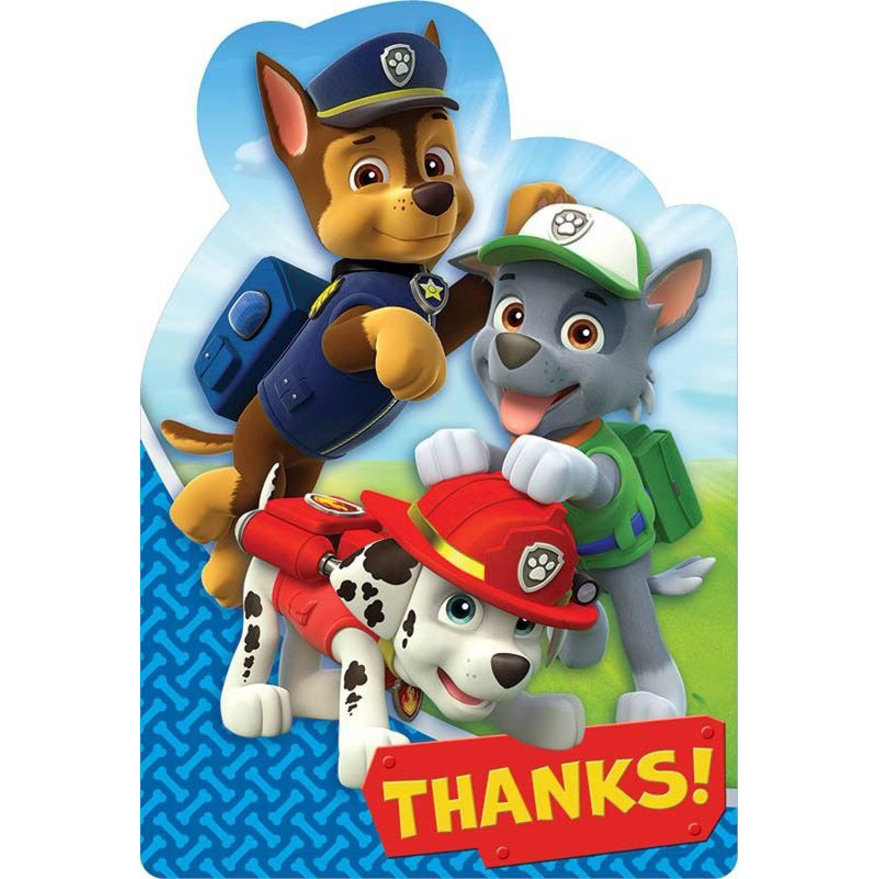 Paw Patrol Party Supplies 8 Pack Thank You Notes