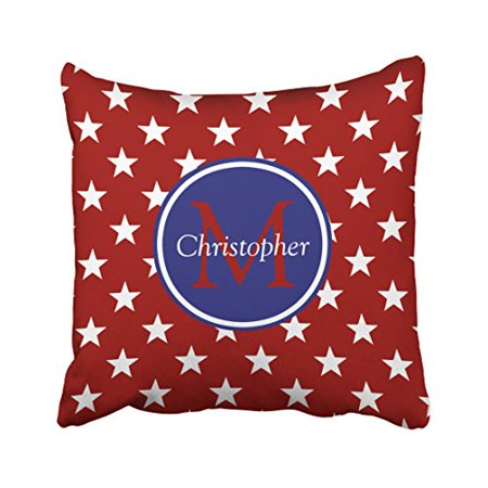 WinHome Square Throw Pillow Covers Nautical Red White Blue Stars Monogram Customizable Pillowcases Polyester 18 X 18 Inch With Hidden Zipper Home Sofa Cushion Decorative Pillowcase