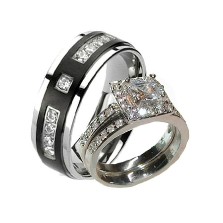 His Hers Cz Halo and Black Titanium Wedding Engagement Ring (Cubic Zirconia His And Hers Wedding Sets)