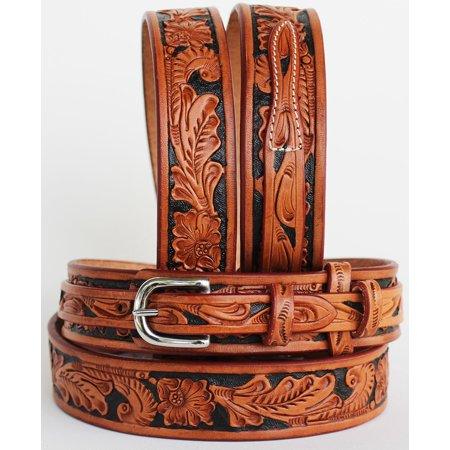 Western RANGER Tooled Leather BELT Hand Carved Floral 26Ranger11