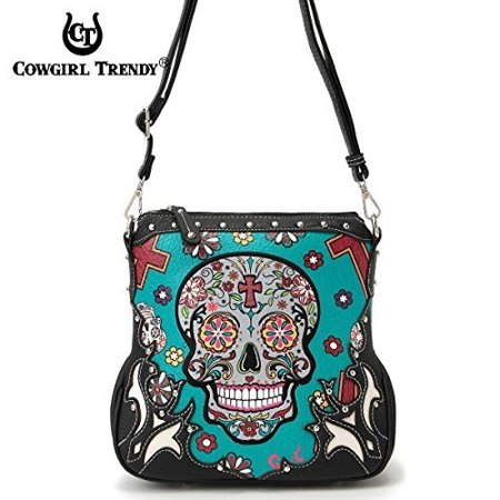 sugar skull messenger sling bag day of the dead purse with concealed carry pocket, teal (Day Of The Dead Purse)