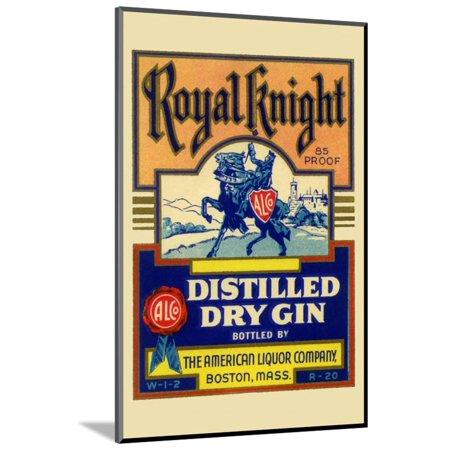 Royal Knight Distilled Dry Gin Wood Mounted Print Wall Art