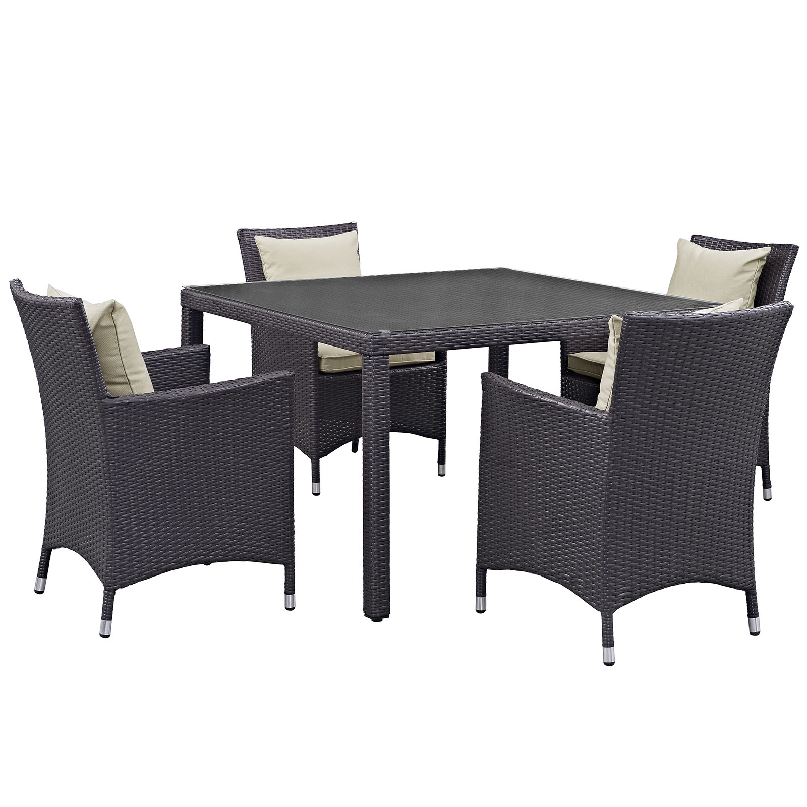 Modern Contemporary Urban Design Outdoor Patio Balcony Five PCS Dining Chairs and Table Set, Beige, Rattan
