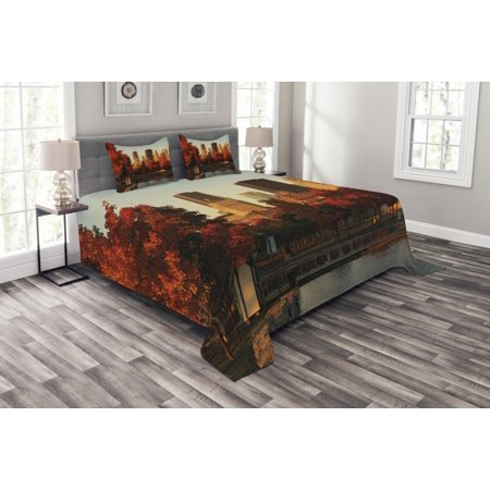 City Bedspread Set, Old Port of Montreal Early in the Morning Scenic Autumn Trees Buildings Canada, Decorative Quilted Coverlet Set with Pillow Shams Included, Red Orange Brown, by Ambesonne ()