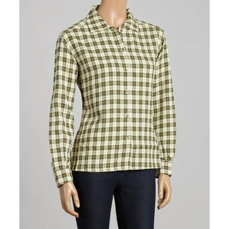 Loden Green And Ivory Plaid Button Front Shirt (Style# 6164)
