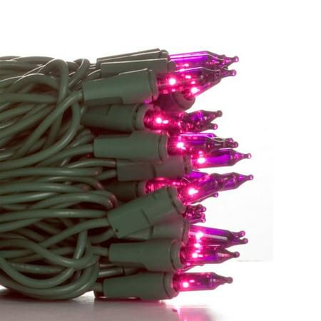 Lights 4' Spacing Green Wire - 50 Purple Mini Lights - 4'' Spacing - Green Wire