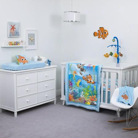 Disney Nemo 3 Piece Nursery Crib Bedding Set - Comforter, Fitted Crib Sheet, Crib - Baby Finding Nemo