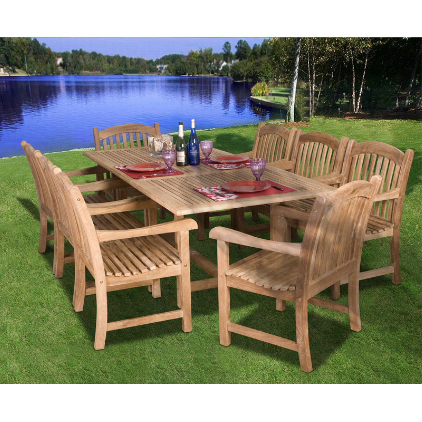 Amazonia Newcastle Teak Dining Room Set Seats 8 by International Home Miami Corp