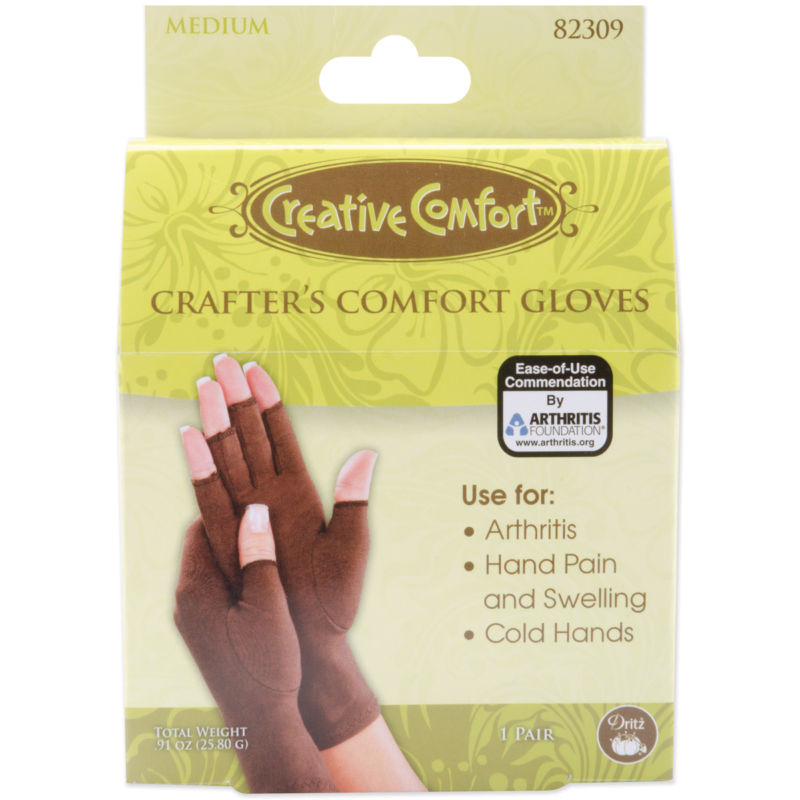 Dritz 823CG-09 Creative Comfort Crafter's Comfort Gloves 1 Pair-Medium