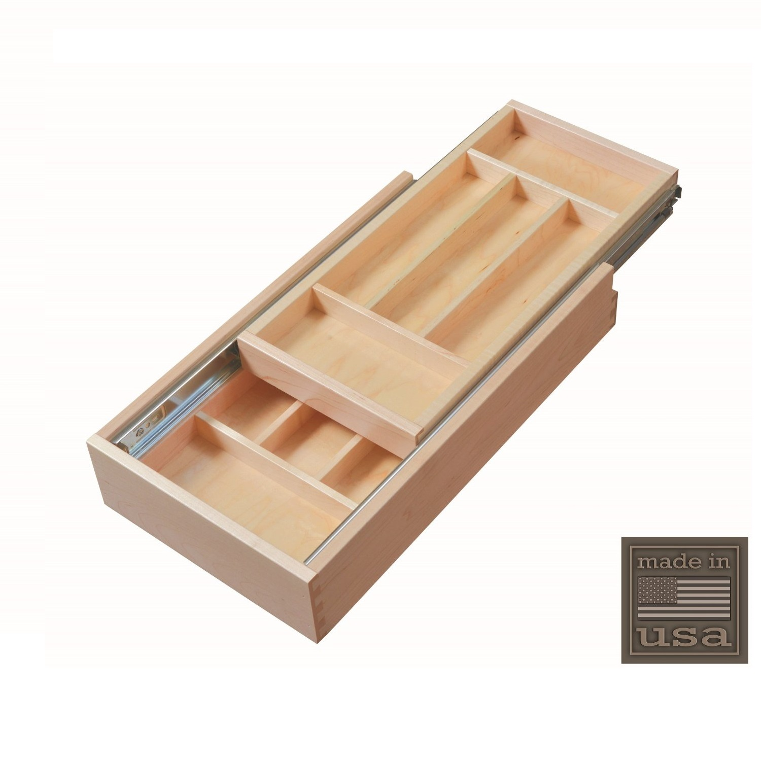 """Century Components DTIER11PF-FF Wood Silverware Tray Cabinet Drawer Organizer Double Tier 11-1 2"""" by"""