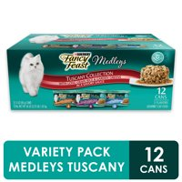 (12 Pack) Fancy Feast Wet Cat Food Variety Pack, Medleys Tuscany With Long Grain Rice & Garden Greens, 3 oz. Cans