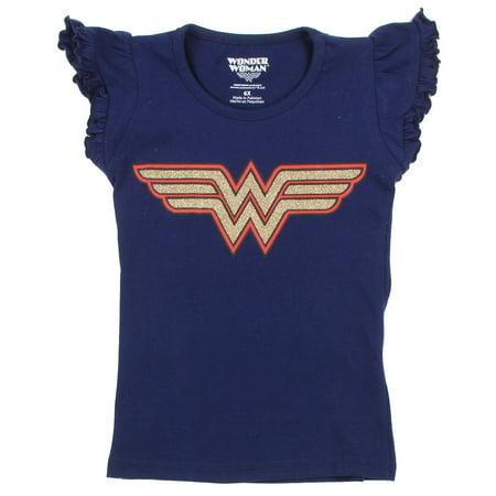 DC Comics Little Girls' Toddler Wonder Woman Glitter Logo Tee - Girls Glitter Toms