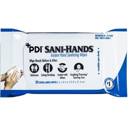 Professional Disposables Sani-Hands Sanitizing Skin Wipe - P71520PK - 20 Each / Pack