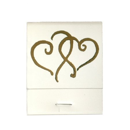 50 White 20 Strike Matches with  Printed Hearts in Metallic Gold Matchbooks for Wedding, Anniversary, Birthdays - Wedding Matchbooks