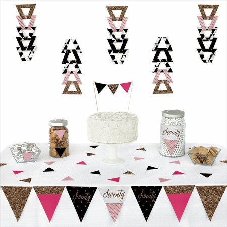 Chic 70th Birthday - Triangle Party Decoration Kit - 72 - Chic Party Supplies