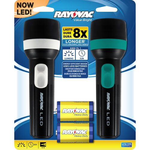 Rayovac Value Bright 1D LED Flashlight, 2-Pack