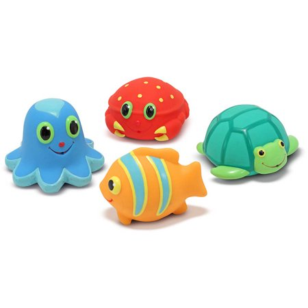 Melissa & Doug Sunny Patch Seaside Sidekicks Squirters With 4 Squeeze-and-Squirt Animals - Water Toys for Kids - Water Squirting Flower