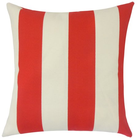 the pillow collection kanha striped 22 x 22 down feather throw pillow red - The Pillow Collection