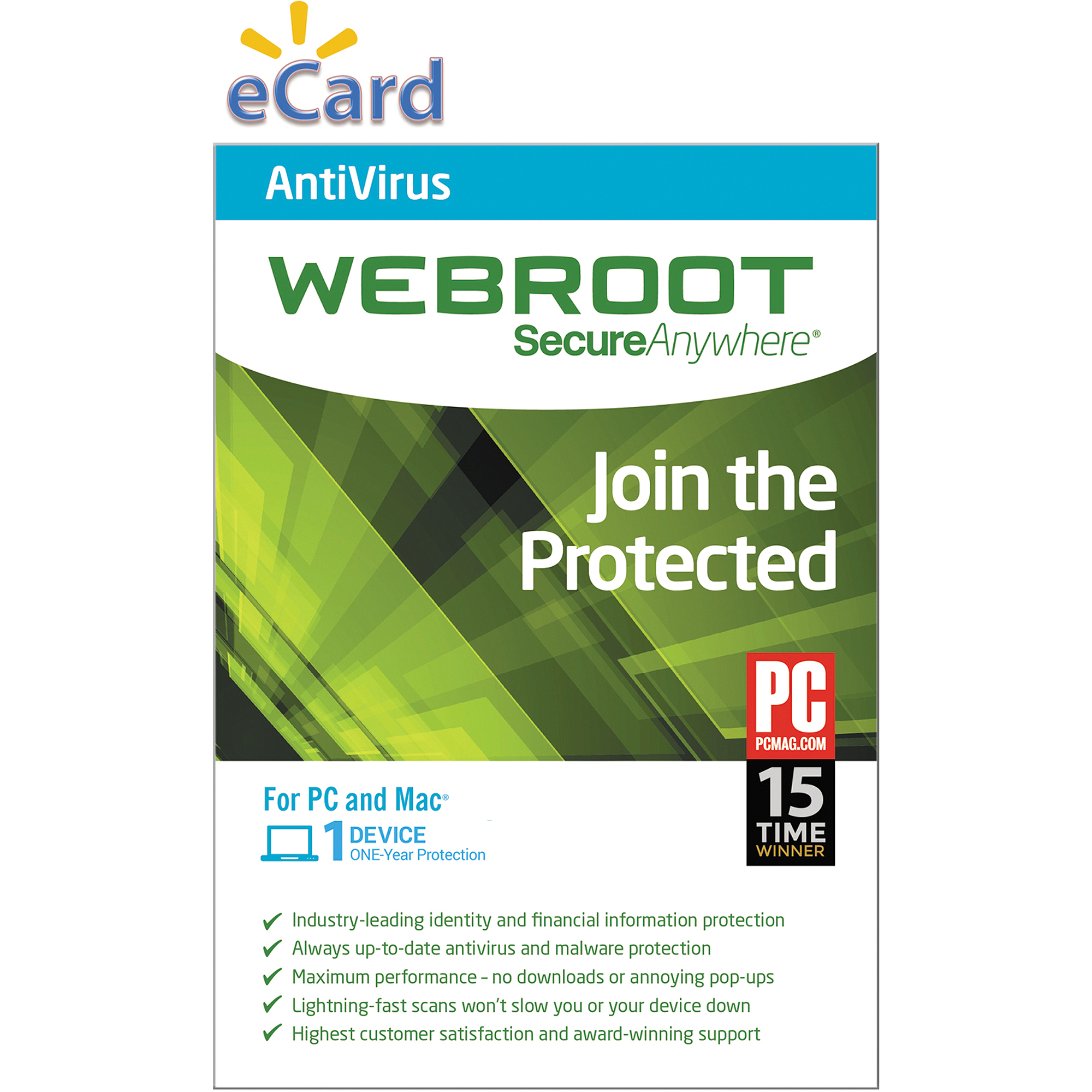 Webroot SecureAnywhere AntiVirus 1U $19.98 (Email Delivery)