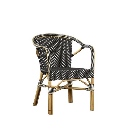Baskerville Black and White Wicker Bistro Chair (Set of 2) ()