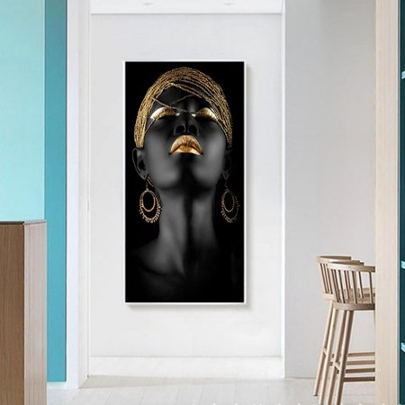 African Girl Pattern Canvas Spray Painting Living Room Wall Decoration  Poster