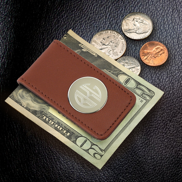 Personalized Brown Leather Magnetic Money Clip