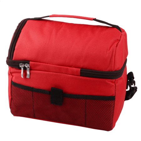 Travel Nylon Double Layer Insulated Lunch Food Holder Cooler Bag Storage Red - image 4 of 5