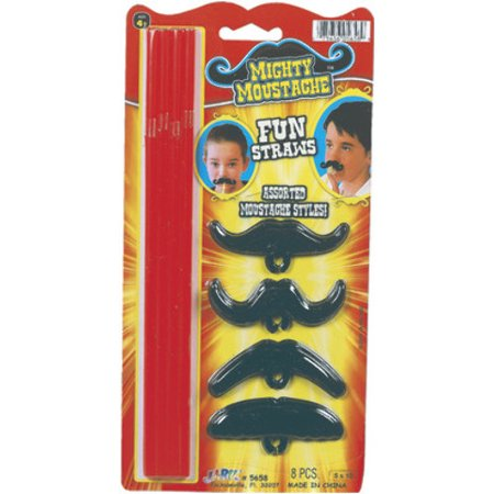 Mighty Mustache Straws 8 Pk Assorted Case Pack - Moustache Straw