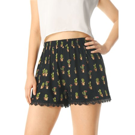 Lace Up Stretch Shorts (Women's Printed Lace Trip Elastic Waistband)