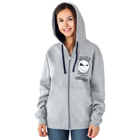 Womens Jack Skellington Zip Hoodie Sweatshirt Grey