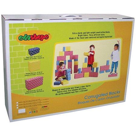 Edushape Educolor Blocks - Edushape Corrugated Blocks, 84-Piece