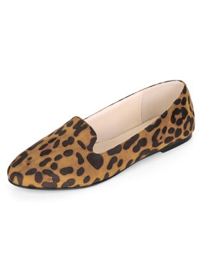 6611ef355c5 Product Image Women s Leopard Slip On Round Toe Loafers Flat Shoes Brown  (Size ...