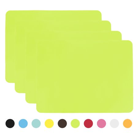 Aspire 4PCS Thicken Non-Slip Silicone Placemats Cutting Hot Mats Tablemats-Green - Red Round Placemats