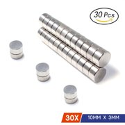 """Neodymium Rare Earth Super Magnets For Hobby Crafts Home Model Fridge Office Part 10 * 3mm (0.40""""D*0.12""""H ) N35 Strength, 30 Pieces"""