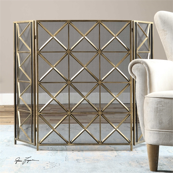 Ambient Hand Forged Metal Finished In A Heavily Burnished Silver Champagne Fireplace Screens by Uttermost