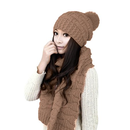 Sweater Scarf and Hat Set Keep Warm in Winter Knitted Hat - image 1 de 7