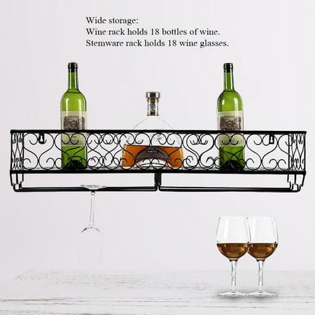 Yosoo Wall Mount Metal Wine Rack Bottle Champagne Glass Holder