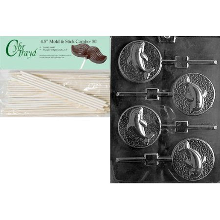Cybrtrayd 45St50-N035 Dolphin Lolly Nautical Chocolate Candy Mold with 50-Pack 4.5-Inch Lollipop Sticks