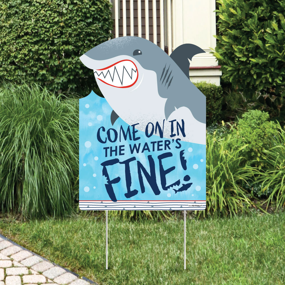 Shark Zone - Shark Week Party Decorations - Jawsome Shark Party or Birthday Party Welcome Yard Sign
