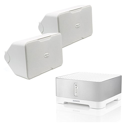 Sonos CONNECT:AMP Wireless Hi-Fi Player with Klipsch CP-6 Compact Performance Series Outdoor Loudspeakers Pair (White) by Sonos