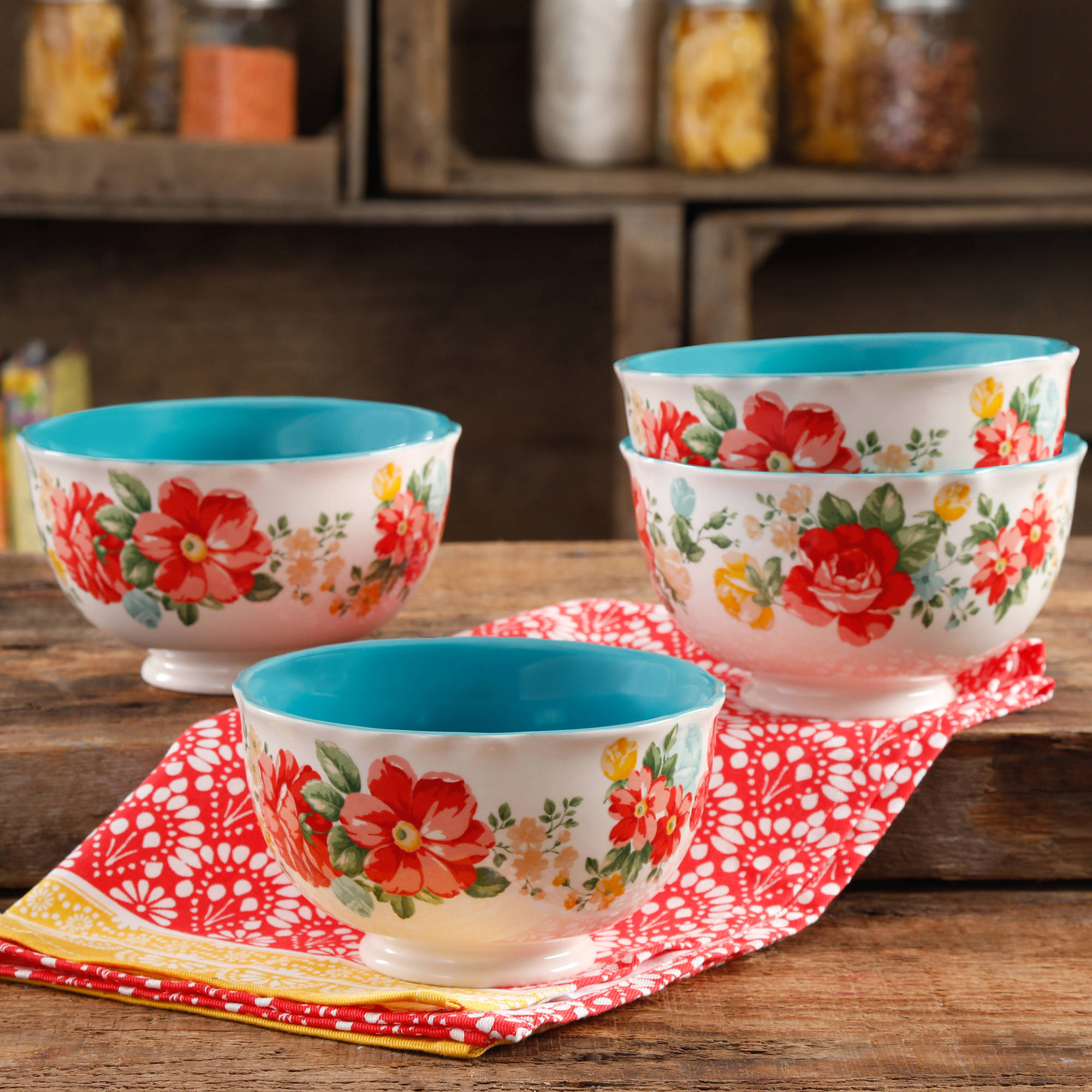 The Pioneer Woman Vintage Floral 6  Footed Bowl Set, Set of 4