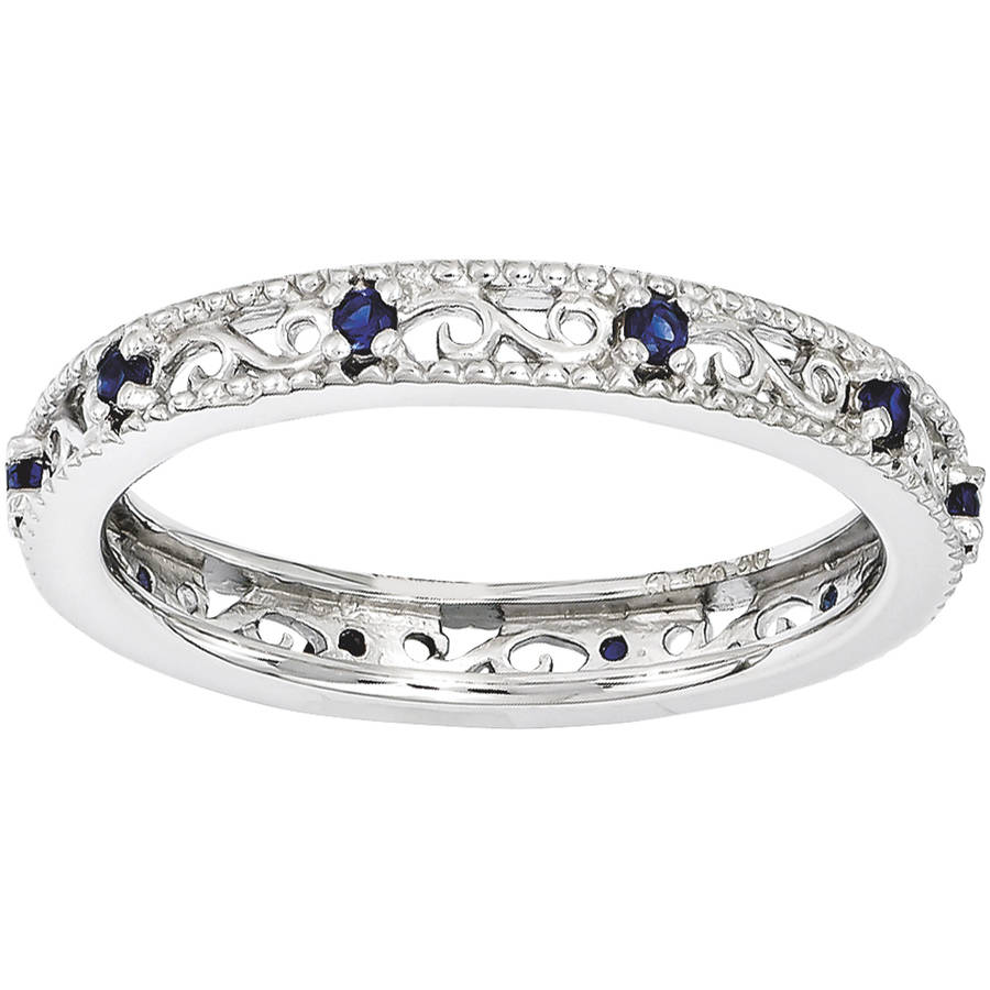 Stackable Expressions Created Sapphire Sterling Silver Ring
