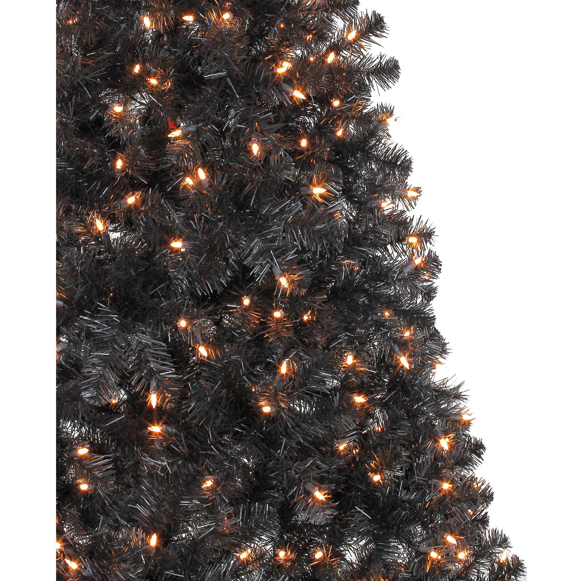 Artificial Christmas Pine Tree 6.5' Pre-Lit Black Clear ...