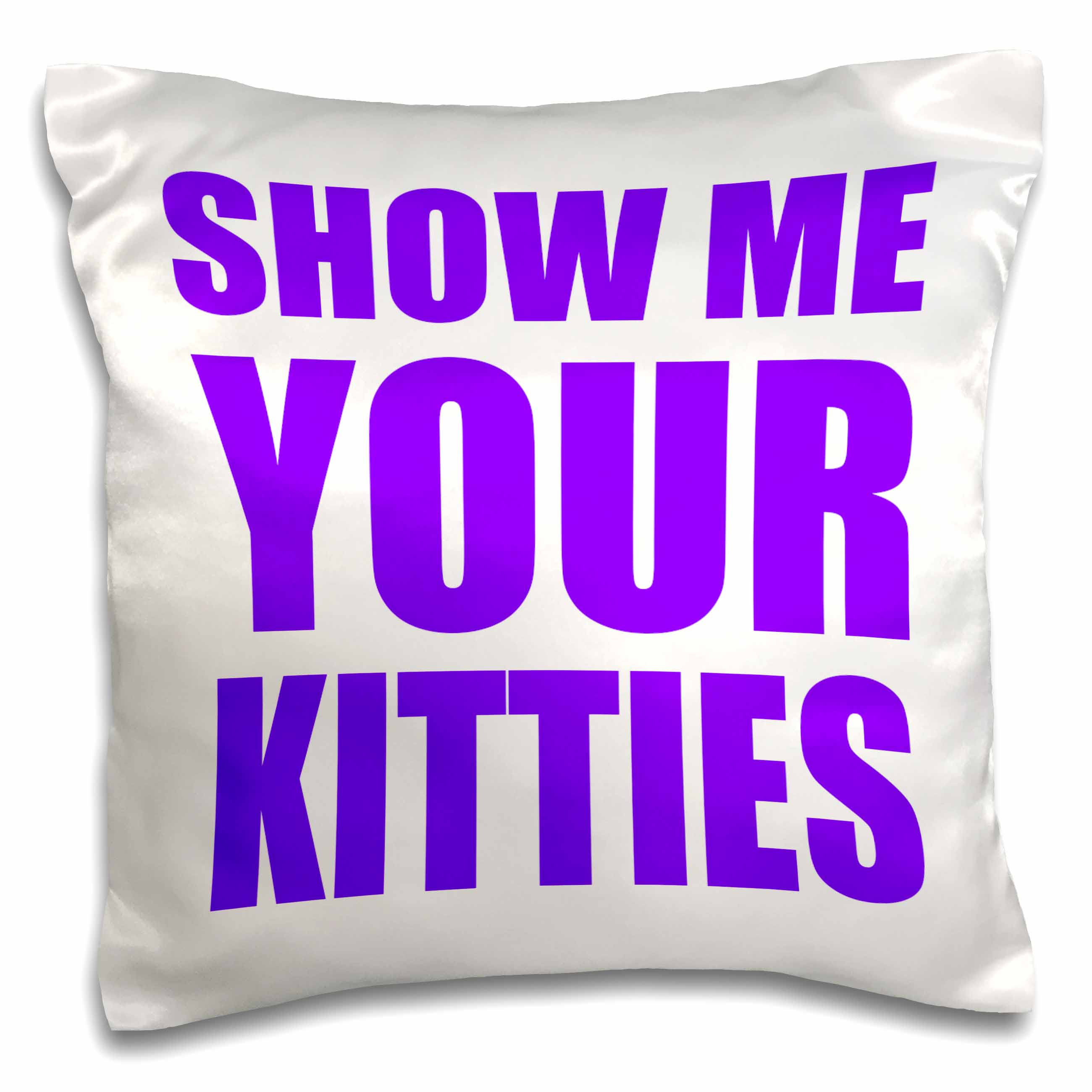 3dRose Show me your kitties, Purple, Pillow Case, 16 by 16-inch