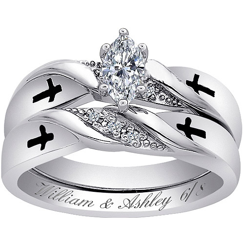 Personalized Sterling Silver Marquise CZ & Diamond Acecnt Cross Bridal Set