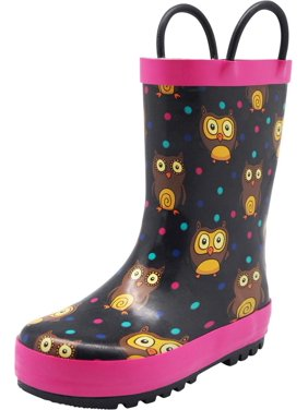 Norty Toddlers Kids Boys Girls Waterproof Rubber Printed Rain Boots -13 Patterns, 40133 Black Owls / 9MUSToddler